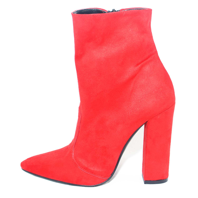 Scarpe donna tronchetto tronchetto tronchetto punta camoscio rosso made in italy glamour moda tacco la 6e115b