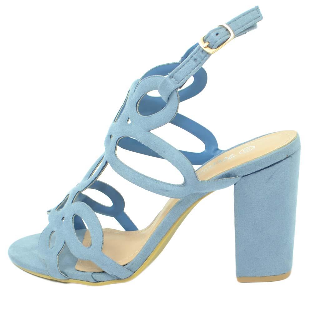 prezzo più basso con 3e102 d05c1 Sandalo donna nubuk azzurro polvere tacco largo cinturino alla caviglia  aperto sul calcagno fantasia floreale laser moda donna sandali tacco Malu  ...