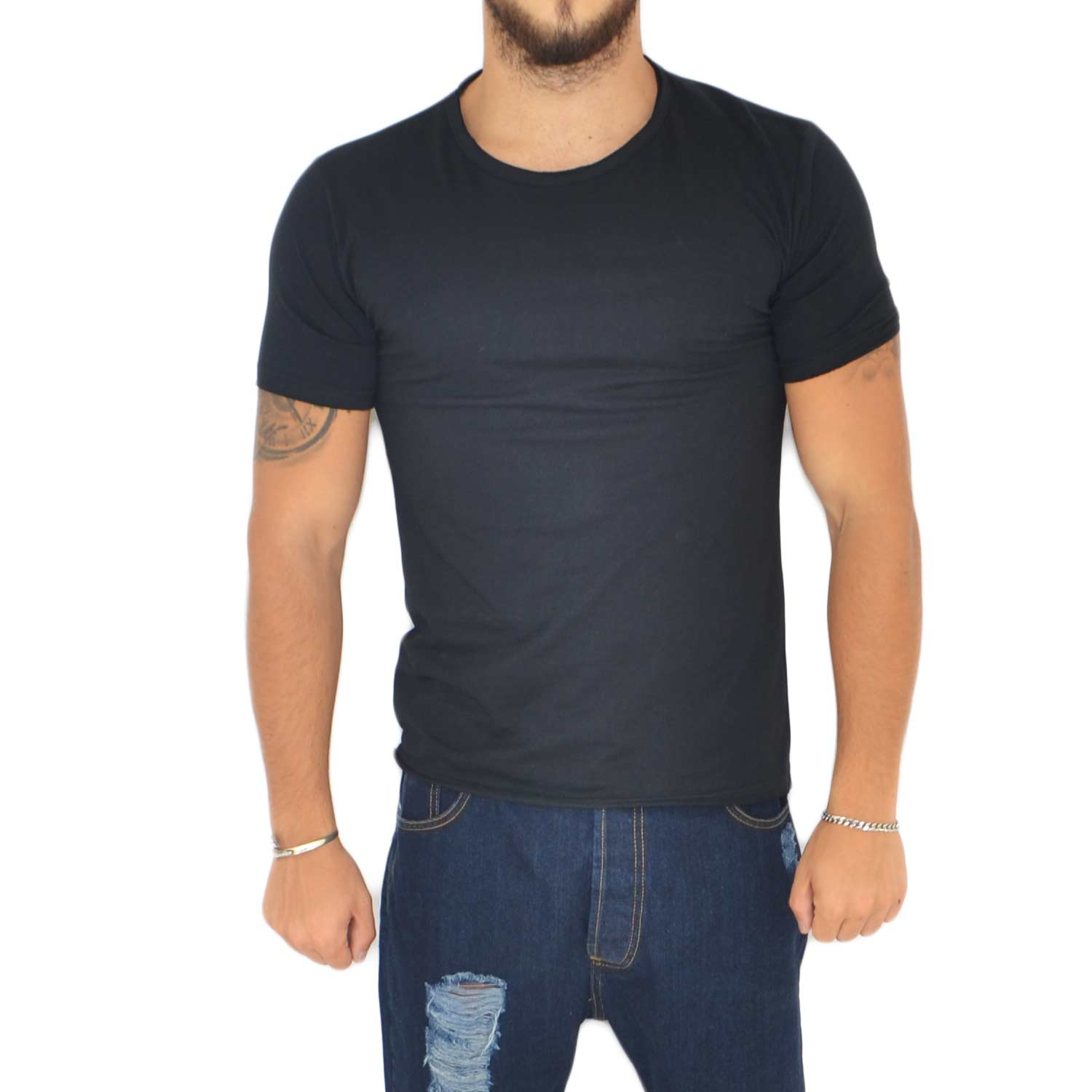 T- shirt basic uomo in cotone elastico nero semplice slim fit girocollo con cucitura in tinta made in italy
