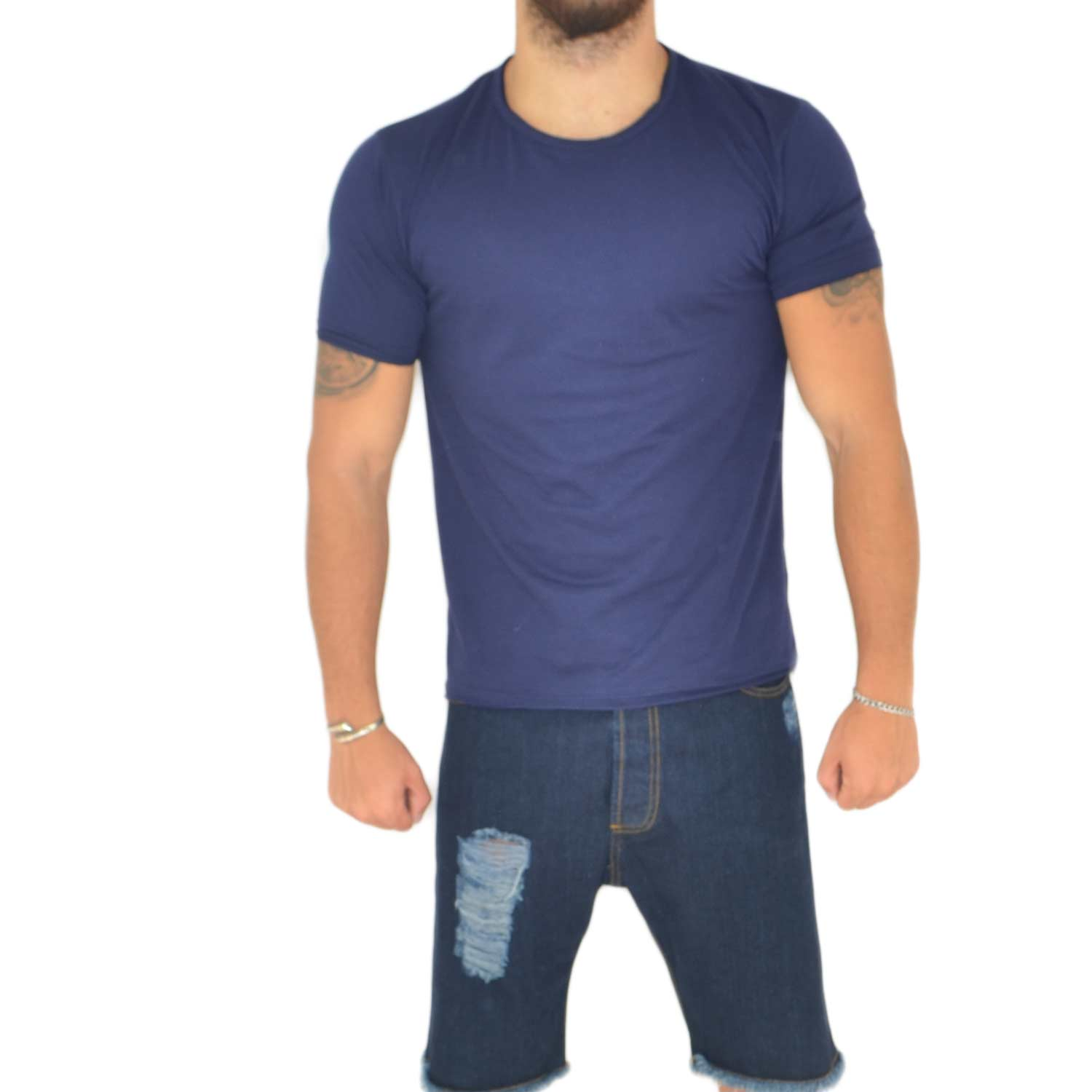 T- shirt basic uomo in cotone elastico blu avion slim fit girocollo con cucitura in tinta made in italy