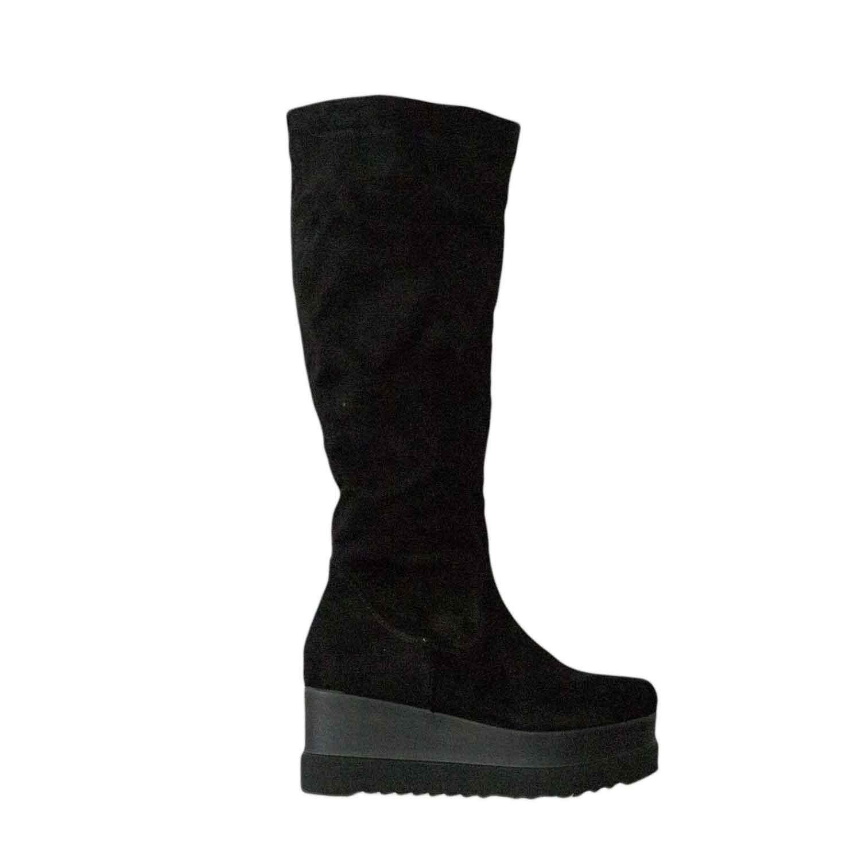 selezione premium 4d8d3 47999 Stivale alto zeppa nero camoscio platform moda donna stivali Malu Shoes |  MaluShoes