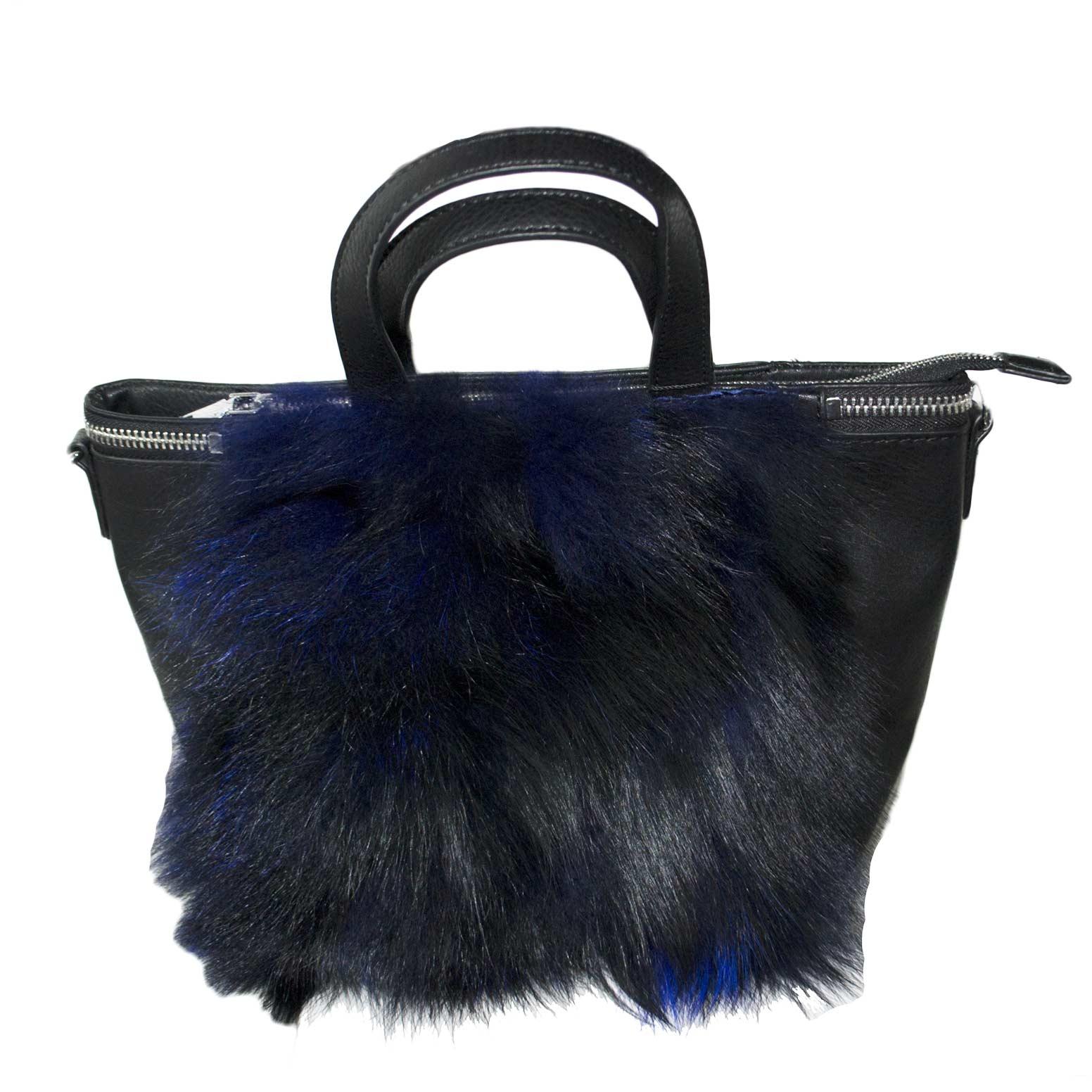 best sneakers dcefc 790fc Pochette borsa donna pelliccia blu moda very cool tendenza nero art 0022  donna pochette made in italy | MaluShoes