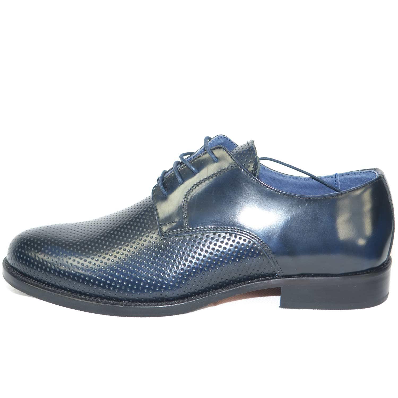 the latest 85b1c 988d6 scarpe classiche cerimonia elegante uomo blu lucido abrasivato vera pelle  made in italy microforata fondo cuoio uomo classiche made in italy   ...