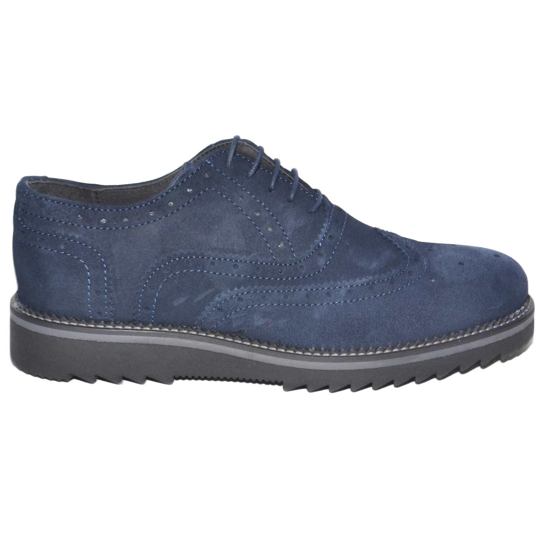 Calzature uomo francesina vera pelle scamosciata blu made in italy fondo  nero grigio light antiscivolo moda f31b5a563ba