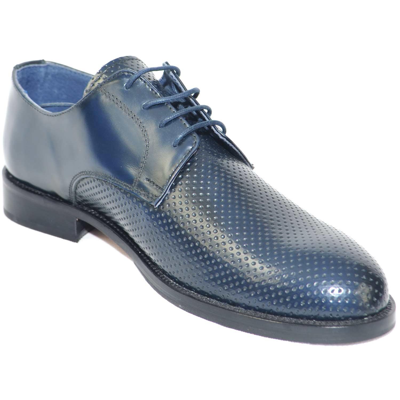 scarpe classiche cerimonia elegante uomo blu lucido abrasivato vera pelle  made in italy microforata fondo cuoio ... af2e35922f2