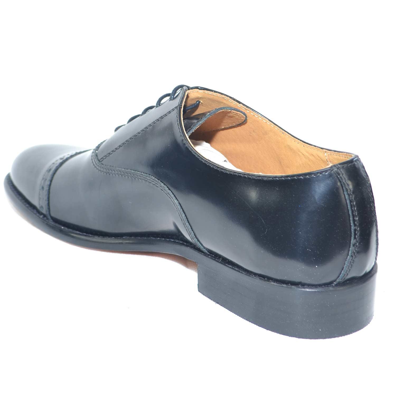 Scarpe nero elegante vera pelle abrasivato cerimonia cucitura mezza punta comfort fondo vero cuoio comode uomo classiche made in italy | MaluShoes
