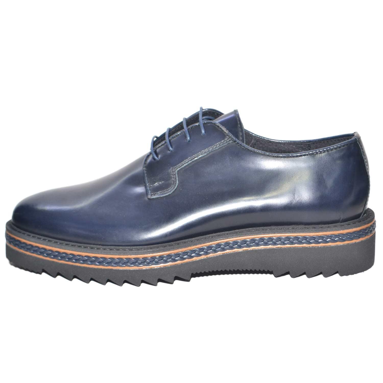 scarpe uomo stringate vera pelle abrasivato blu made in italy fondo  antiscivolo treccia artigianale cerimonia elegante 7c1773166e0