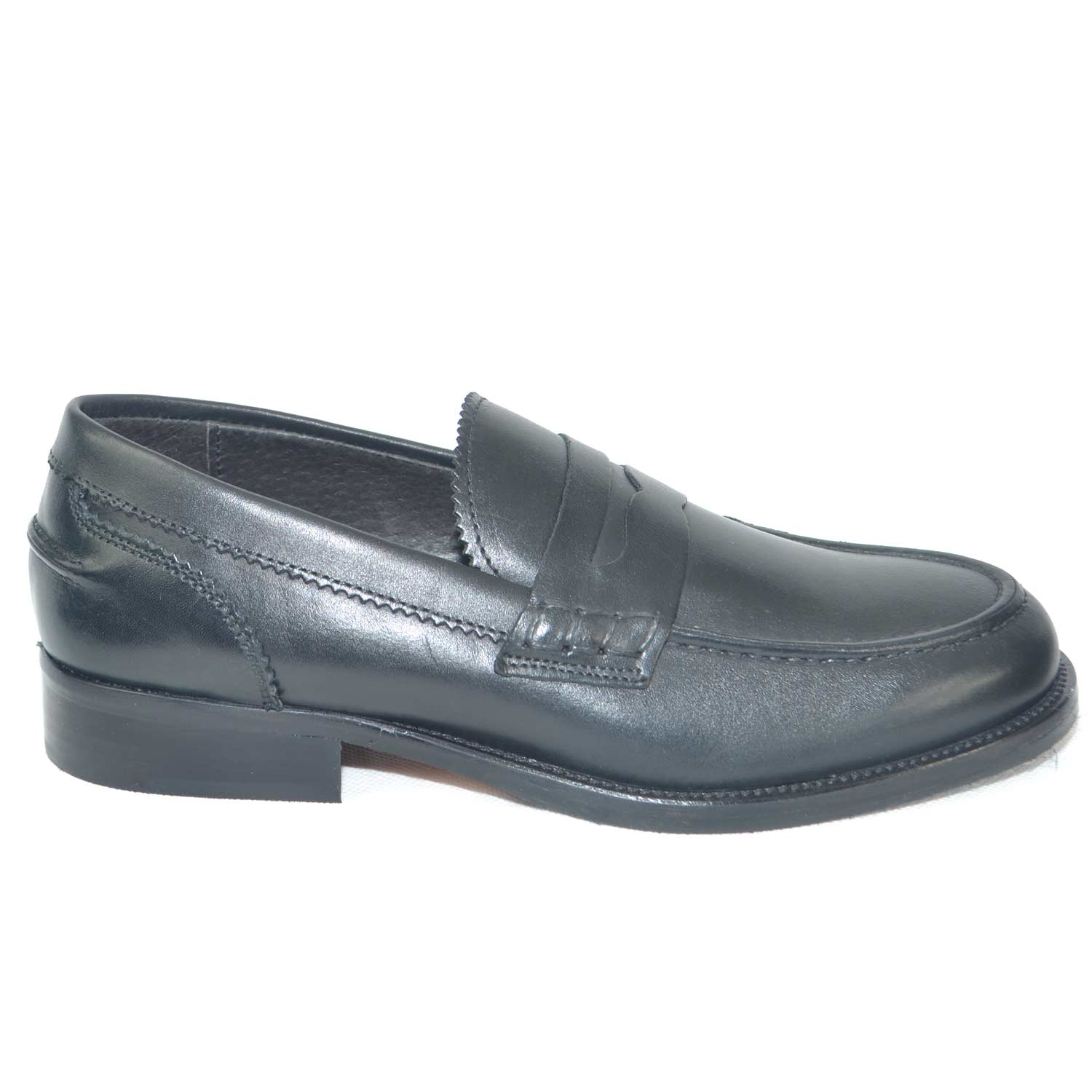 Scarpe uomo mocassini inglese college vera pelle crust nero made in italy fondo classico sportivo genuine leather