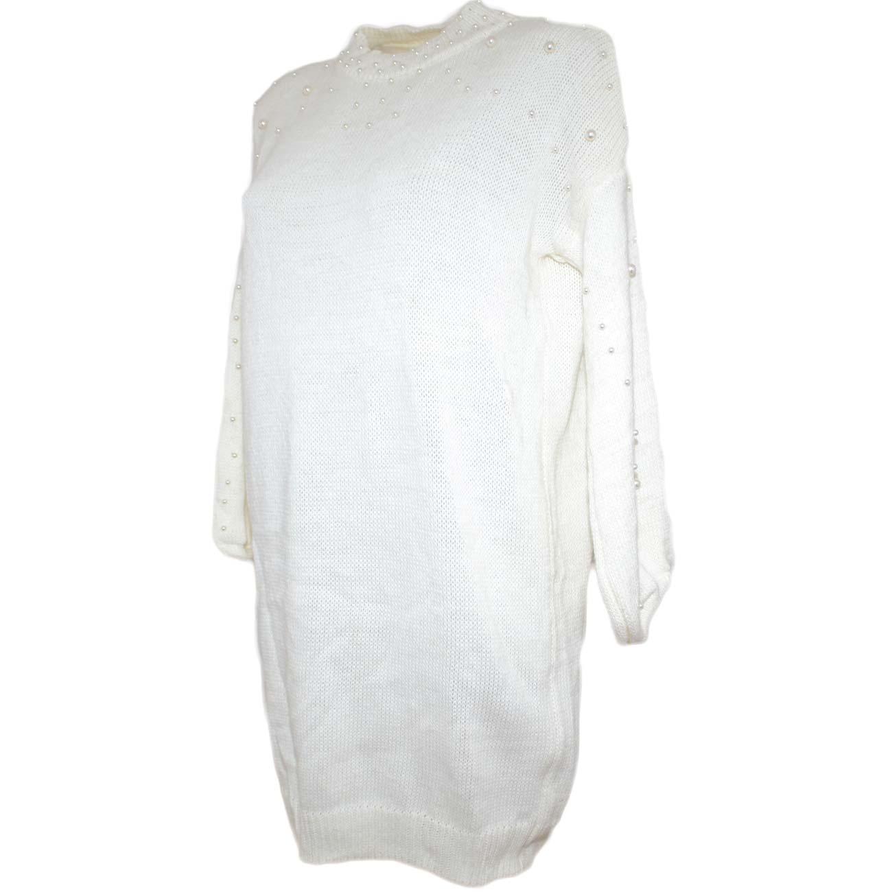 quality design f4b52 180fe Maxi pull maglione donna bianco con manica a palloncino e perline bianche  moda tendenza donna maglioncini Malu Shoes | MaluShoes
