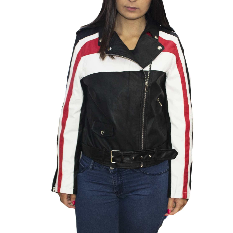 timeless design 4144e 54b02 Chiodo giubbino biker di pelle nero bianco strisce rosse strappi su maniche  slim fit avvitato corto moda trend donna chiodo pelle Osley | MaluShoes