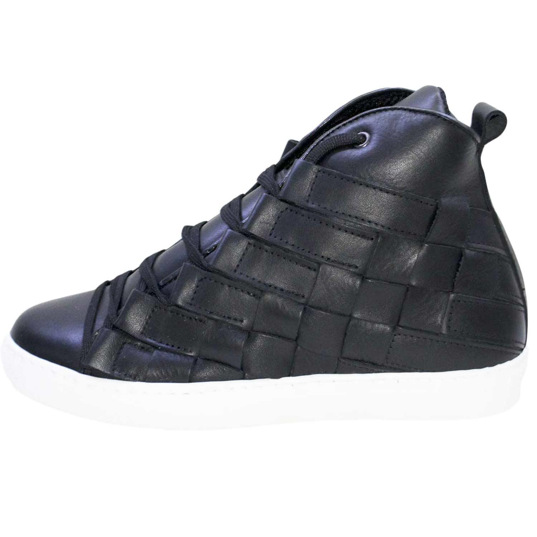 scarpe uomo man casual sneakers alta pelle nero moda glamour ... 200bdcb12c0