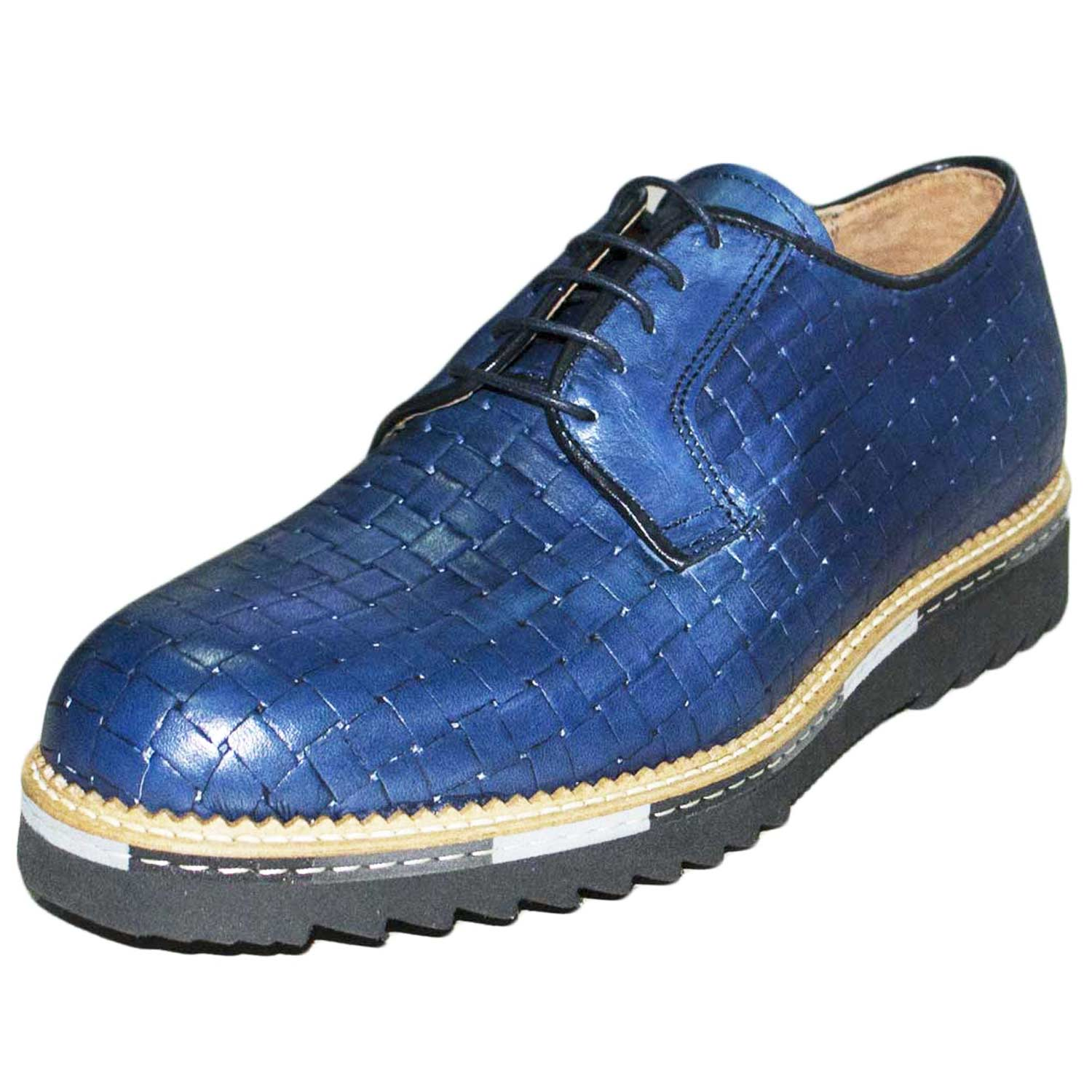Scarpe uomo stringate intreccio blu vera pelle fondo con intersuola colorata ultraleggero made in italy comfort