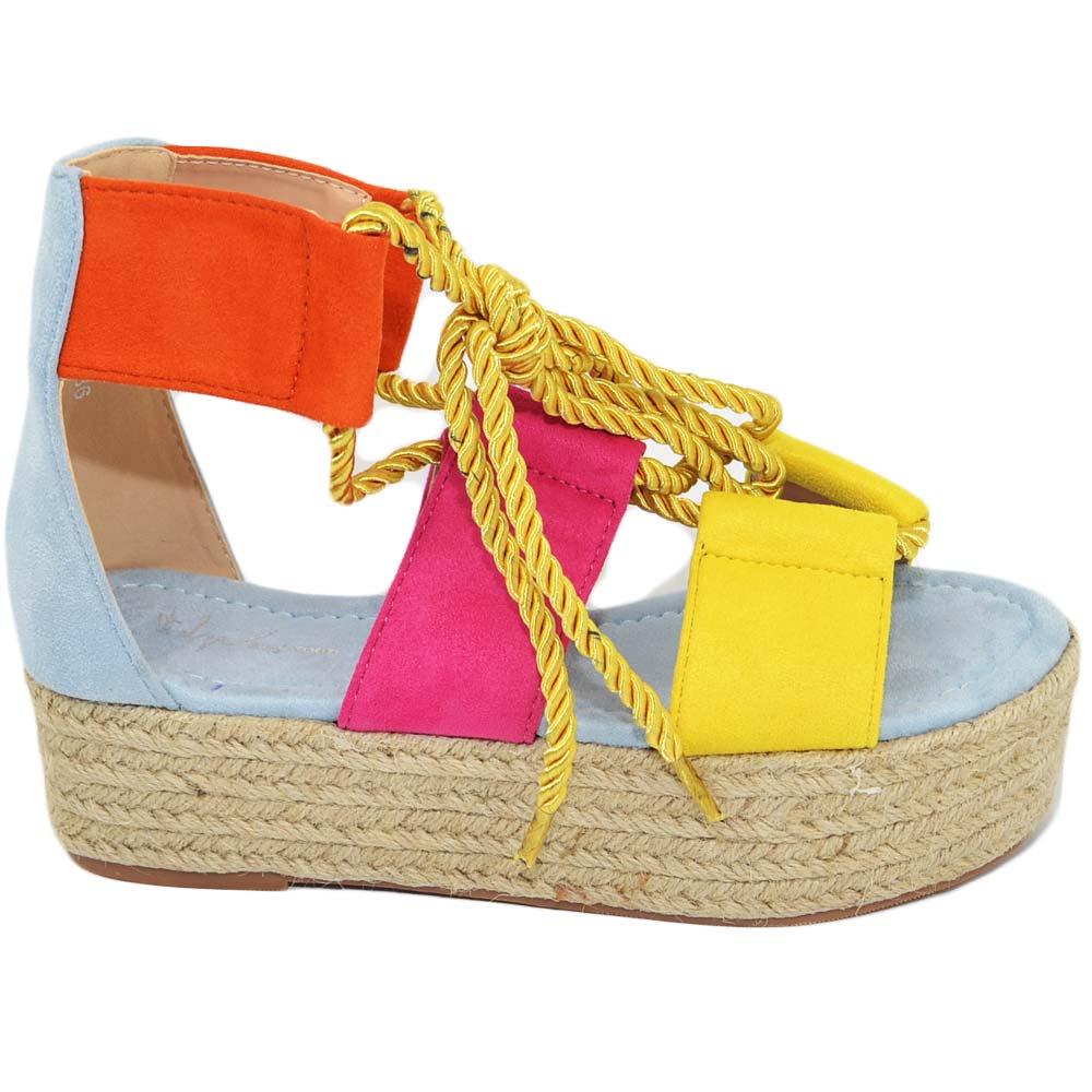 Sandalo basso colorato donna espadrillas con para alta camouflage con cordino incrociato alla schiava estate moda donna donna zeppe Malu Shoes |