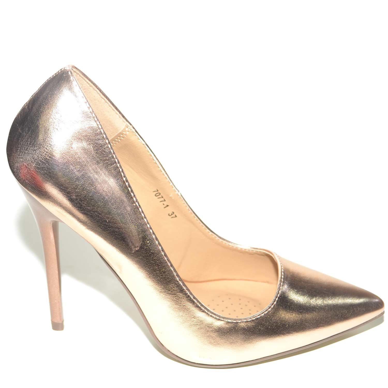 Decollete donna bronzo linea basic in ecopelle bronzo tacco a spillo 12 cm  elegante be3523d4c2c