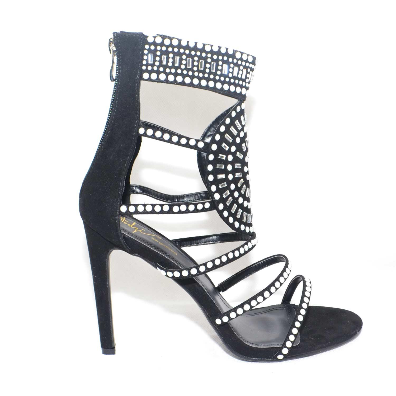 scarpe sportive 14068 a7f7e Sandalo gioiello elegante tacco a spillo camoscio nero e applicazioni  perline con disegno etnico donna sandali tacco Sergio Todzi | MaluShoes