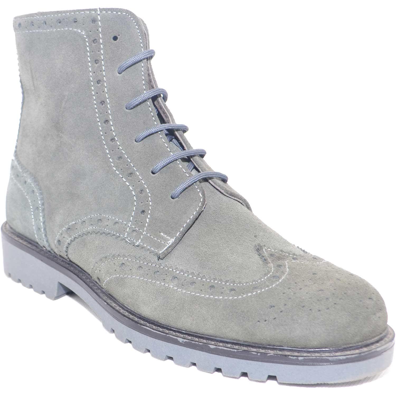 Calzature uomo anfibio francesina pelle scamosciata grigio fondo roccia  antiscivolo moda comfort 8fa8a1c3f14