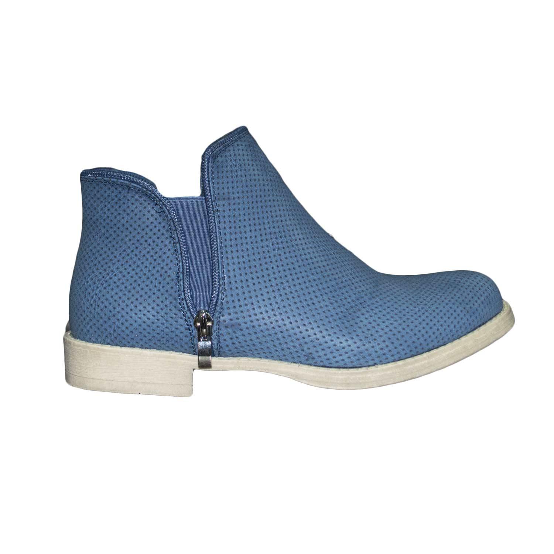 migliori scarpe da ginnastica vendita calda servizio eccellente stivaletto donna zip basso comfort forato blu donna stivaletti Malu Shoes |  MaluShoes