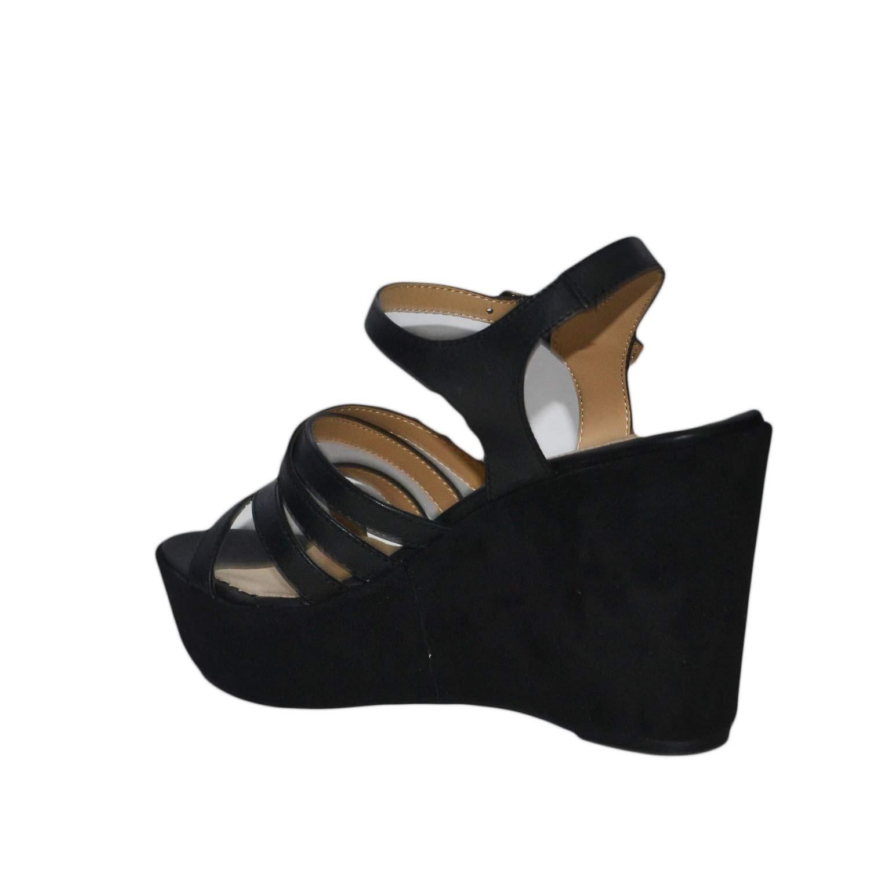 Scarpe donna comode made in nero italy zeppe camoscio nero in vera pelle   81438a