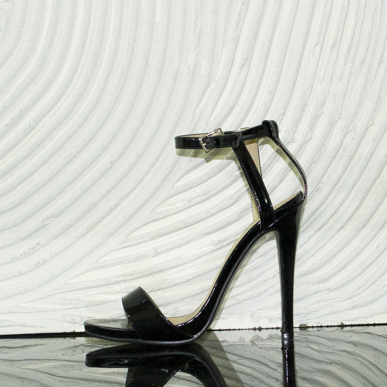 Tacco moda glamour cinturino nero cerimonia Sandali vernice tacco NnOkw8PXZ0