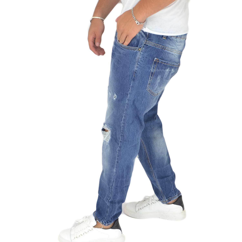 Pantaloni Jeans scuro denim biker. Skinny fit.Chiusura con bottone e cerniera. strappo moda ginocchio glamour uomo jeans Malu Shoes | MaluShoes