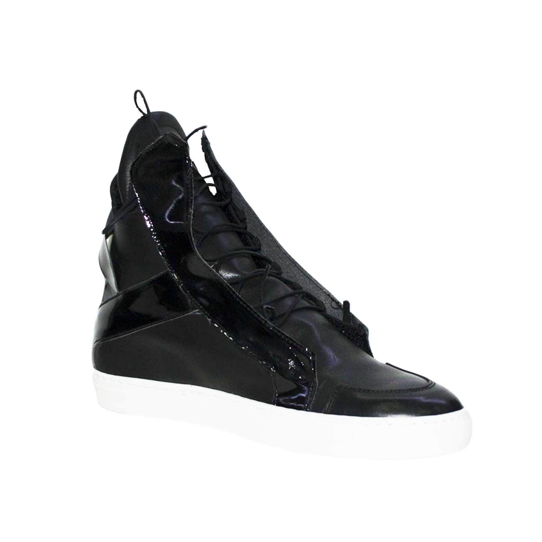 Sneakers alta scarpe uomo moda nero lacci interni vernice vera pelle ... 601c66c7d9f