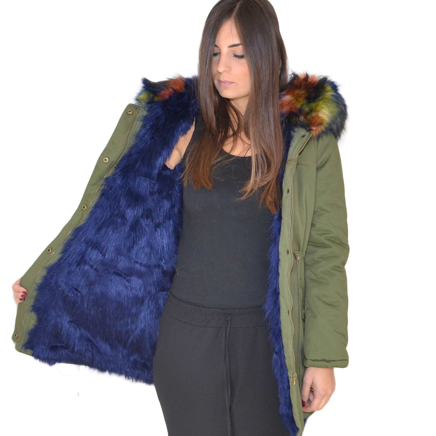 New Parka con pelliccia colorata voluminosa glamour