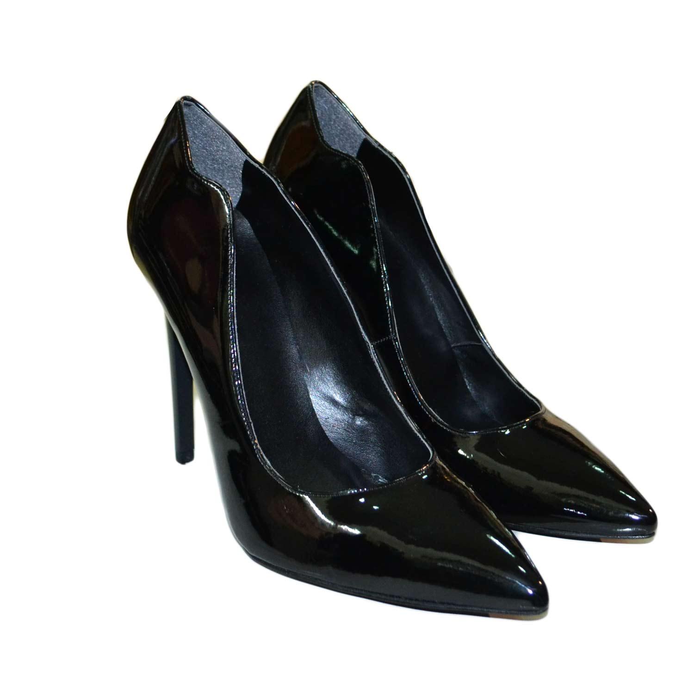 Decollete donna scarpe vernice nero linea decollete con tacco alto moda  donna 20f2dd67200