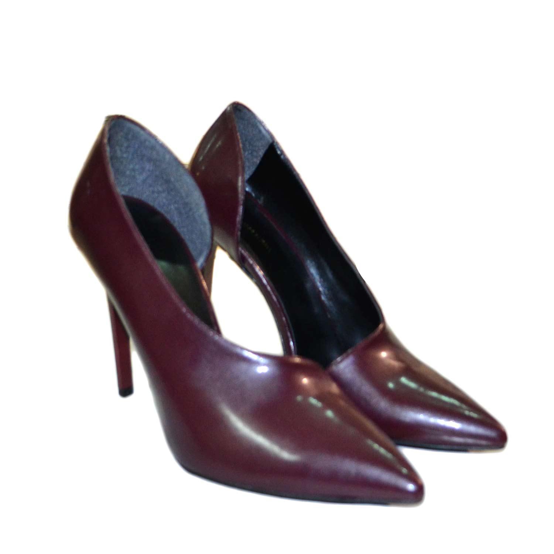 Decollete donna scollatura scarpe pelle bordeaux decollete con tacco alto  moda donna 81179780894