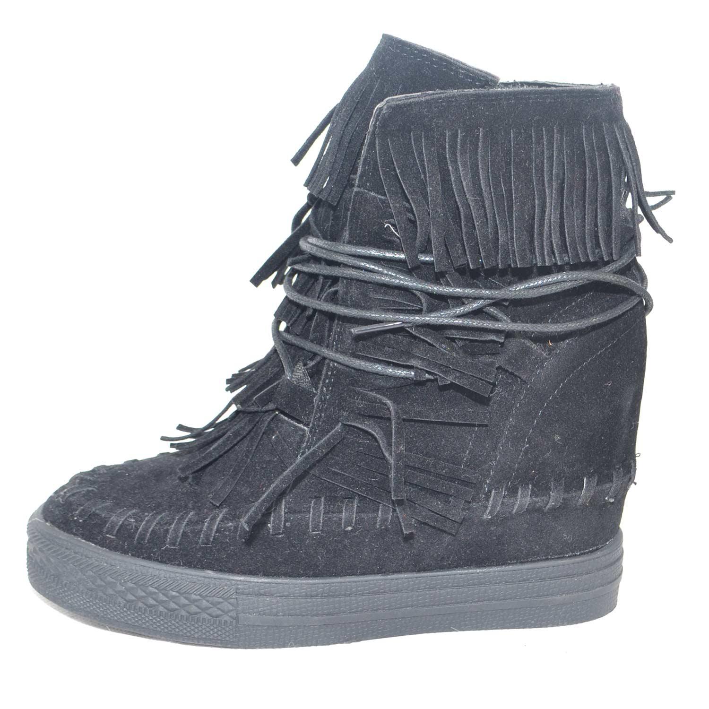 Sneakers alta scarpe zeppa donna con frange in camoscio nero e para interna bf227e55eba