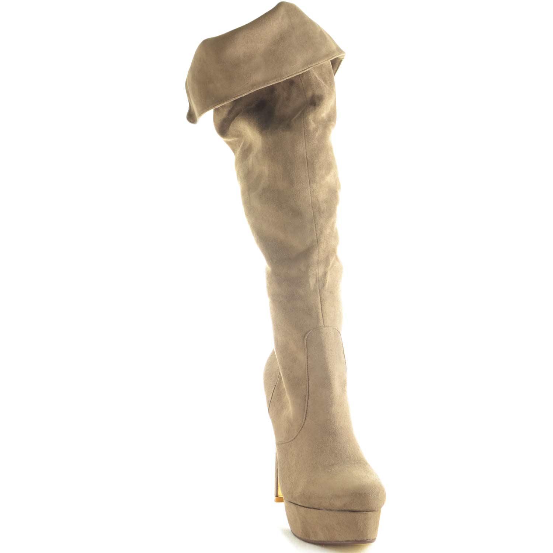 Scarpe donna stivali alti scamosciato sintetico beige tacco a spillo  comfort moda femminile casual 96b518900f0