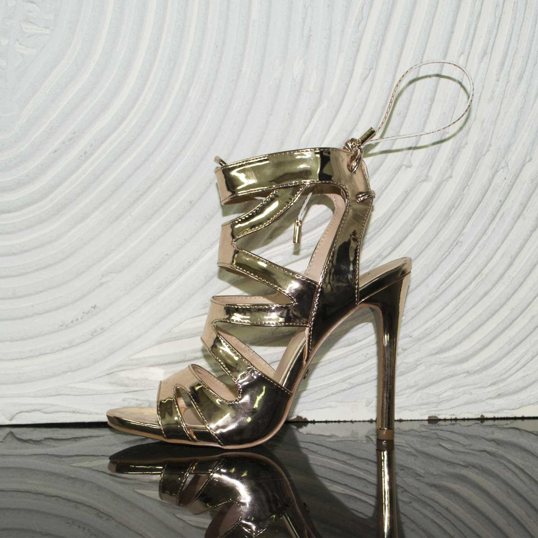 Cerimonia Tacco Specchio Gold Oro Sandali Donna Cinturino 8PwnOk0