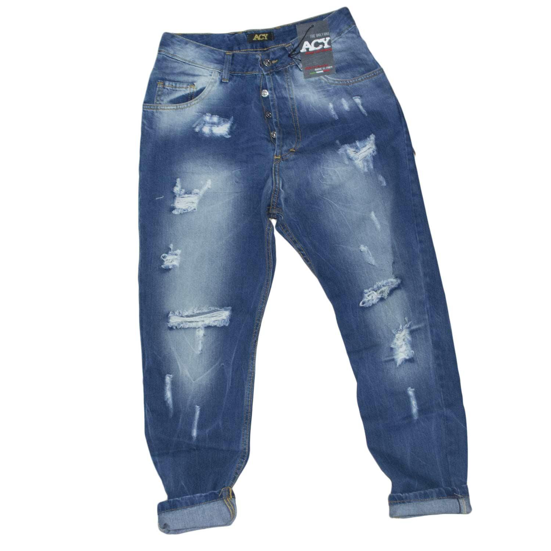 jeans uomo man acy stracciato blu made in italy moda uomo jeans Malu Shoes | MaluShoes