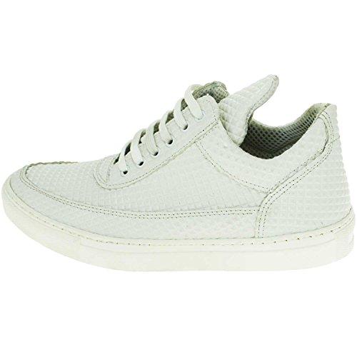 huge discount 42ead 08c08 Sneakers bassa bianco uomo scarpe calzature modello phill con dettaglio  bianco piramide vera pelle uomo sneakers bassa Made In Italy | MaluShoes