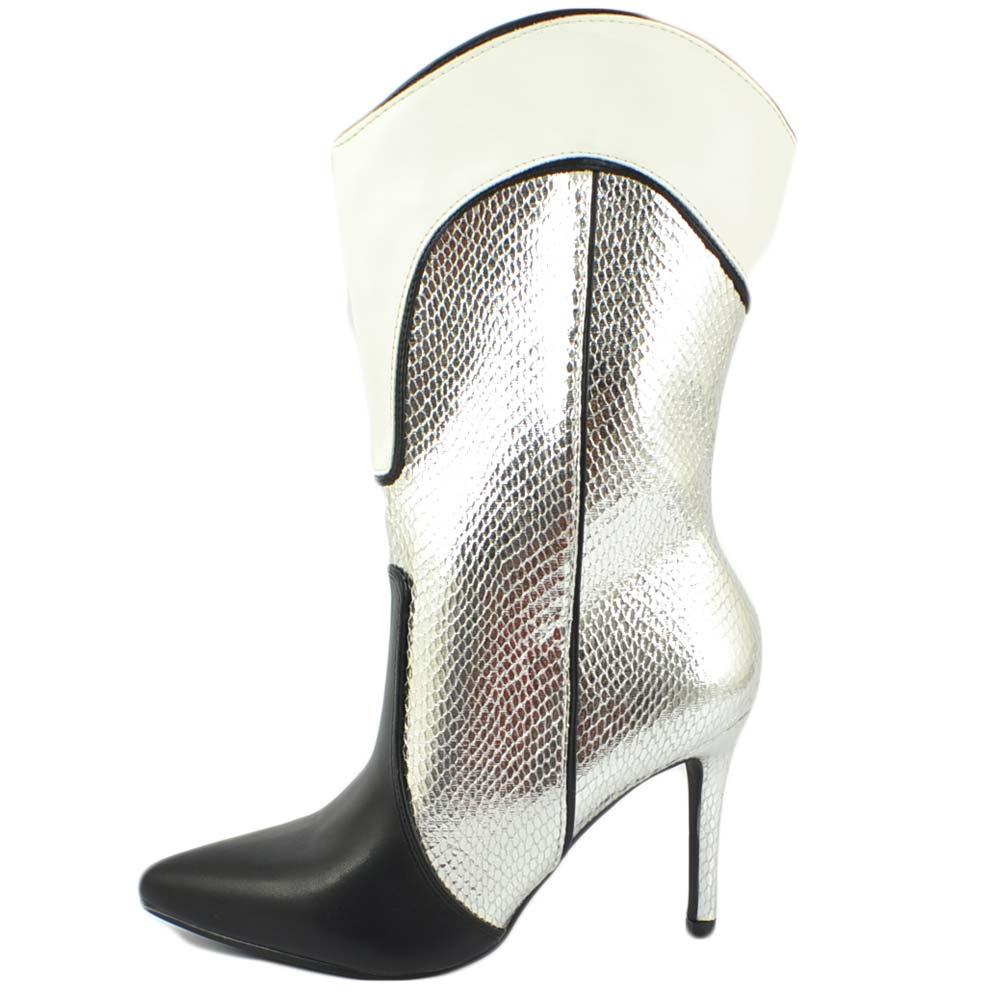 Stivale camperos donna con tacco a spillo texano punta nero bianco argento altezza meta' polpaccio moda cowgirl tendenza donna tronchetti Malu Shoes  