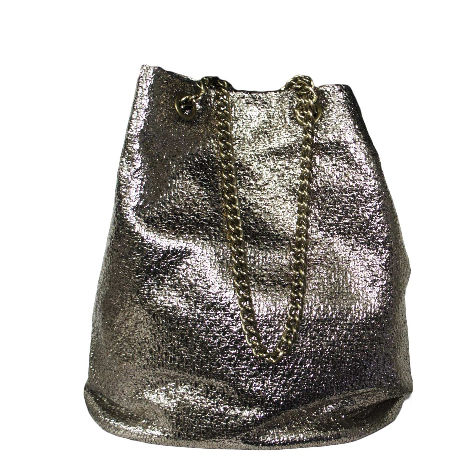 Borsa art 324 sacco donna laminato oro made in italy moda glamour very cool.