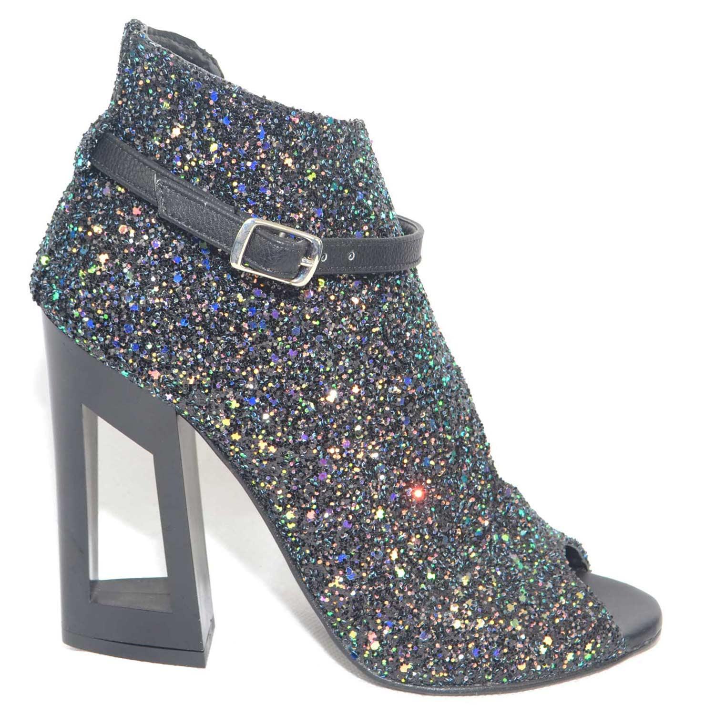 New scarpe tronchetto art vi101 forma aperto da un solo lato spuntato in punta estivo pelle glitter nero cinturino fashon tacco doppio nero forato