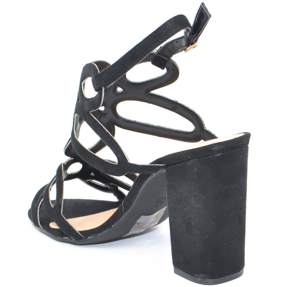 Donna Nero Alla Largo Nubuk Caviglia Aperto Sandalo Tacco Cinturino f6gbyIvY7