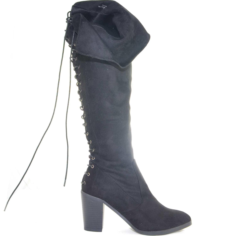 design innovativo 00c9c bd0c1 Stivali donna alto in camoscio nero al ginocchio tacco largo stringato  dietro glamour donna stivali Malu Shoes | MaluShoes