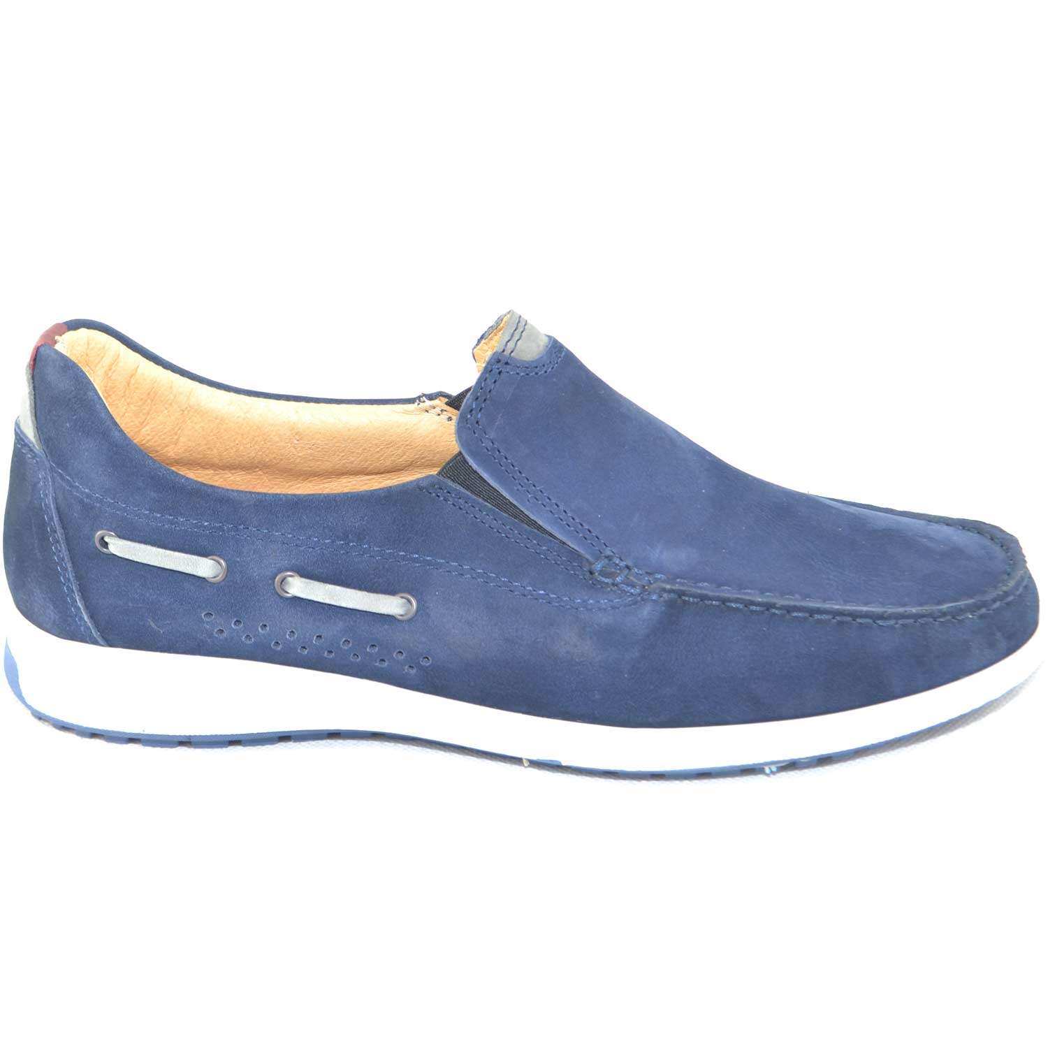Scarpe uomo man casual made in italy mocassino interland comfort in vera pelle di nabuk blu fondo antiscivolo