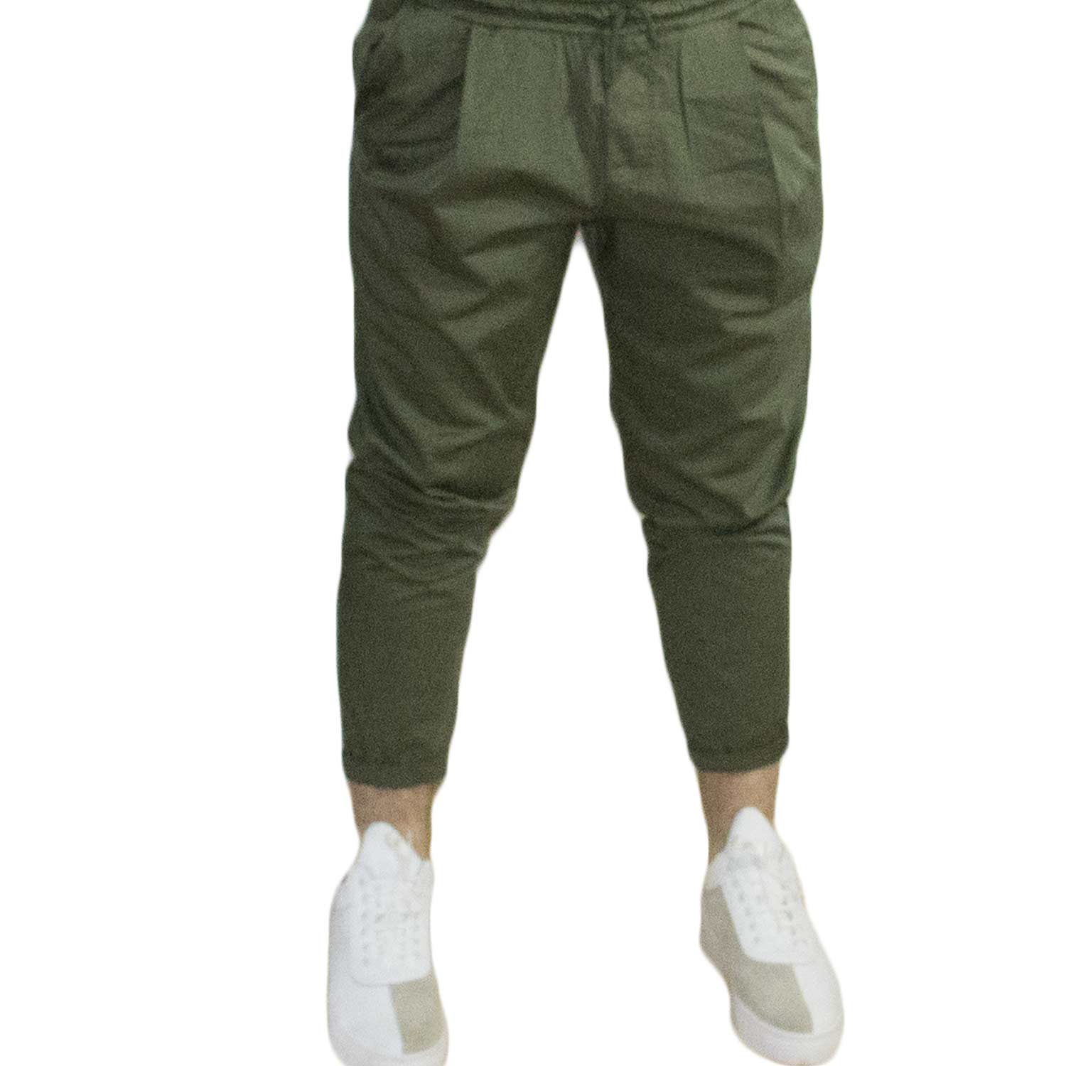 Pantaloni chino cropped art 8734 military green comodo.
