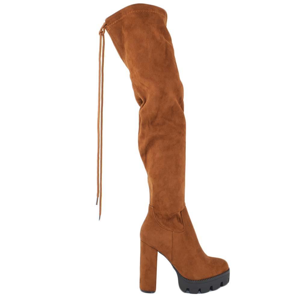 Stivali donna velluto bordeaux alti al ginocchio made in italy tacco