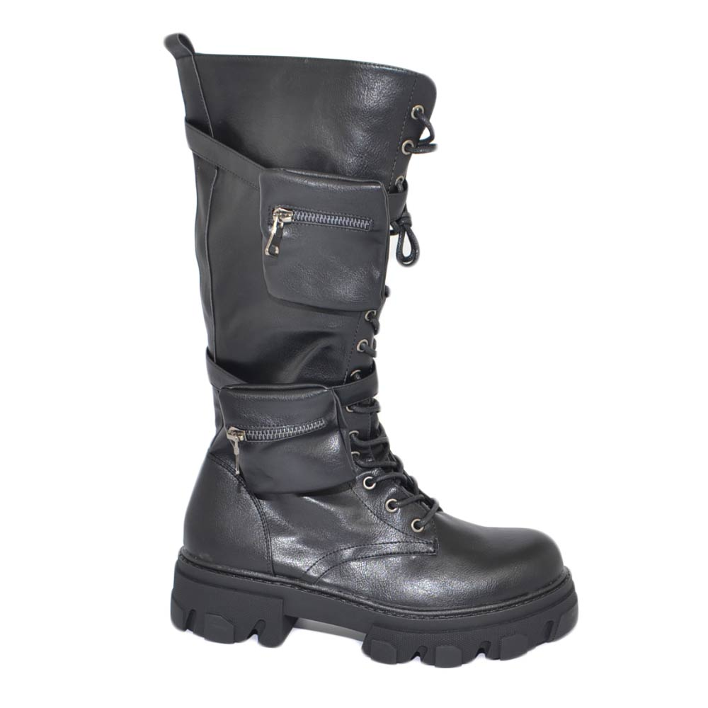 Stivali anfibi donna platform modello chiara doppio taschino zip altezza ginocchio fondo platform lacci lunghi moda donna stivali MALU SHOES |